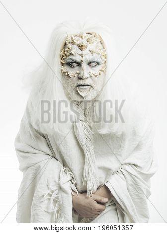 Demon With Dragon Skin And Grey Beard