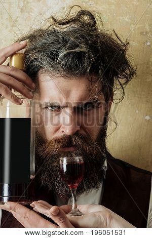 Hipster Holding Bottle Of Wine And Glass On Female Hand