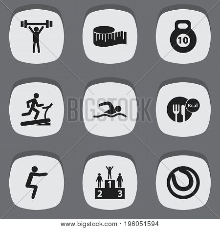 Set Of 9 Editable Healthy Icons. Includes Symbols Such As Bodybuilding, Racetrack Training, Strength And More