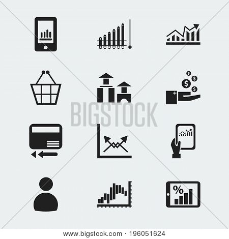 Set Of 12 Editable Logical Icons. Includes Symbols Such As Profit, Line Graph, Smartphone And More