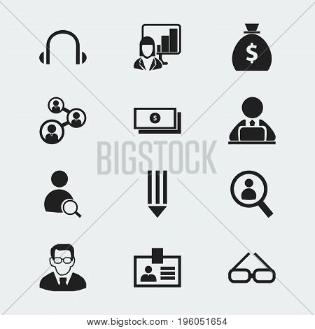 Set Of 12 Editable Office Icons. Includes Symbols Such As Money Bag, Pencil, Spectacle And More