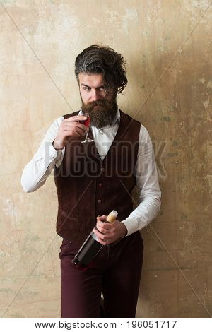 Man Drinking Wine From Glass