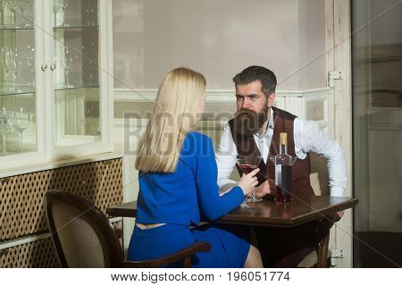 Couple In Love Dating In Restaurant