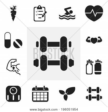 Set Of 12 Editable Sport Icons. Includes Symbols Such As Fitness Drink, Muscle, Date Plan And More