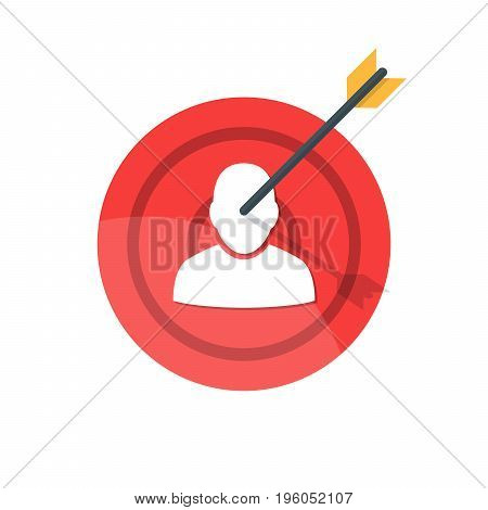 Target with arrow. Silhouette of a man on a target attached by an arrow. The concept of hitting a target or destroying a competitor. Premium quality vector illustration isolated on white background