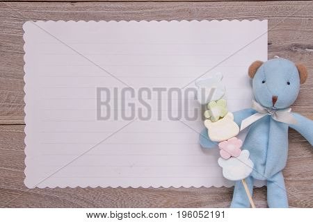 Stock Photography Flat Lay Template Wooden Plank Table White Letter Paper Blue Bear Doll Holding Cot