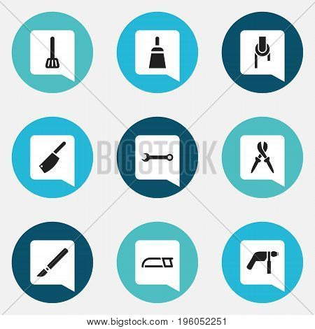 Set Of 9 Editable Apparatus Icons. Includes Symbols Such As Kitchen Spatula, Spanner, Medical Instrument And More