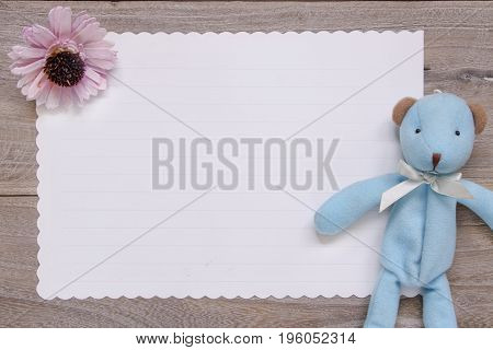 Stock Photography Flat Lay Template Wooden Plank Table White Letter Paper Blue Bear Doll Purple Flow