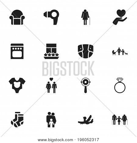 Set Of 16 Editable Folks Icons. Includes Symbols Such As Family, Balcony, Kin And More