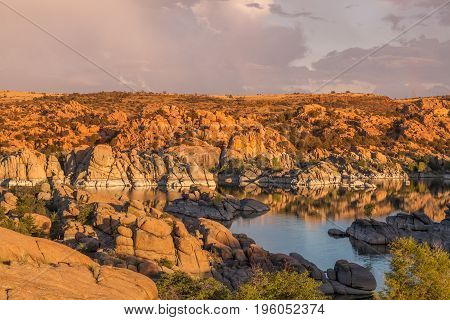scenic Watson Lake Prescott Arizona at sunset with monsoon storm forming