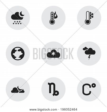 Set Of 9 Editable Air Icons. Includes Symbols Such As Temperature, Goat, Celsius And More