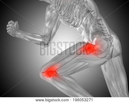 Conceptual 3D illustration human man anatomy or health design, joint or articular pain, ache or injury on gray gradient background