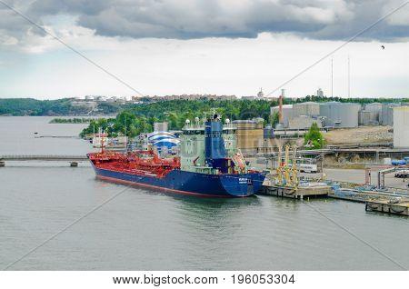 Stockholm, Sweden-July 12, 2017: Tanker ship