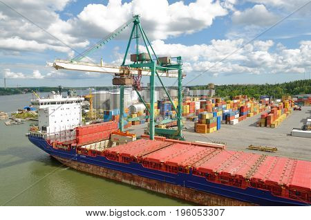 Stockholm, Sweden-July 12, 2017: Container ship