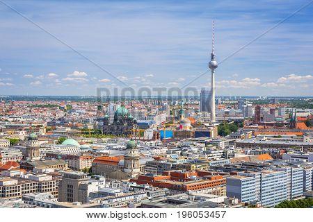 Aerial view of Berlin city, Germany.