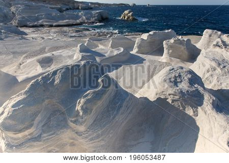 Mineral formations called as Moon landscape on the coast of Milos island Aegean sea, Greece.