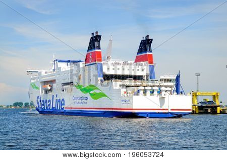 Rostock, Germany-July 14,2017: Ferry ship of the Stena Line