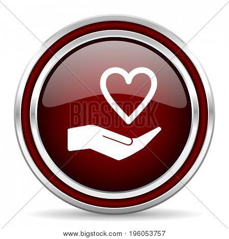 Care love red glossy icon. Chrome border round web button. Silver metallic pushbutton.