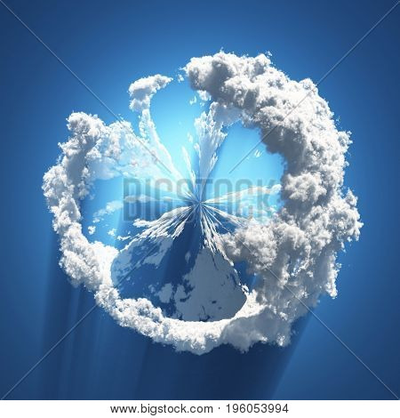 Abstraction. Spherical clouds formation.   3d Rendering