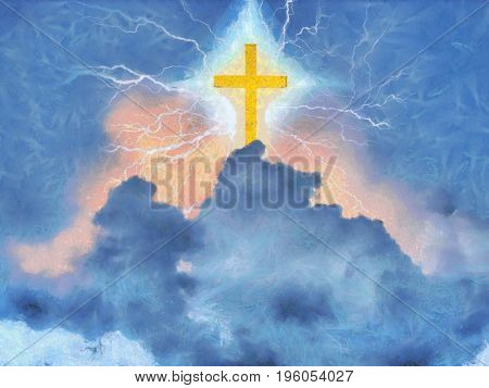 Surreal painting. Shining cross and lightnings in cloudy sky.   3d Rendering