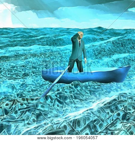 Surreal painting. Man in suit floats in boat in ocean of money.   3d Rendering