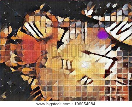 Abstract canvas. Roman numbers and clock hands.   3d Rendering