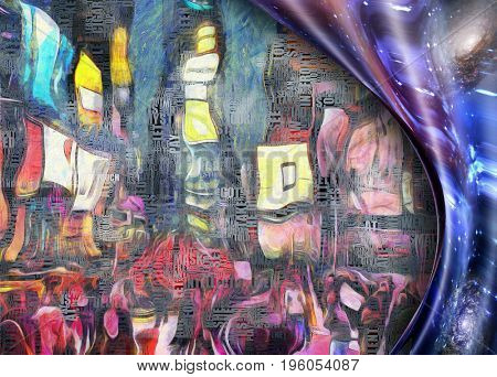 Times Square New York Painting. Picasso style. Warped space. Image composed partially of words, text  3d Rendering