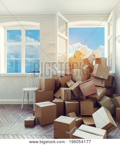 The room heaping with cardboard boxes . 3d render concept