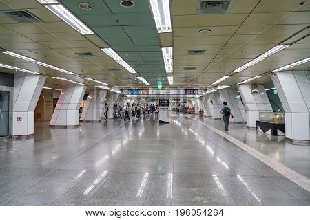 SEOUL, SOUTH KOREA - CIRCA MAY, 2017: underground passageway at Gimpo Airport. The underground passageways link the Subway and Airport Railroad with both terminals of Gimpo Airport.