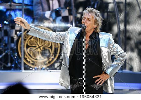 WANTAGH, NY-JUL 18: Singer Rod Stewart performs in concert at Jones Beach Theater on July 18, 2017 in Wantagh, New York.