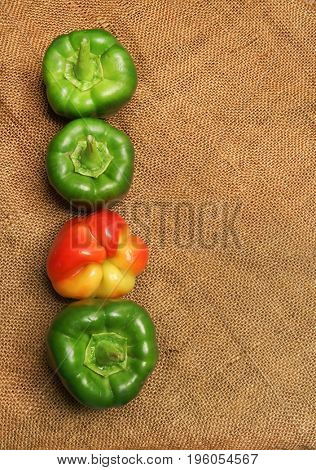 Green and red sweet pepper. Vegetables