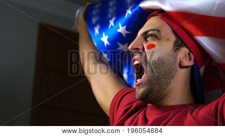 American Guy Waving USA Flag