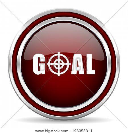 Goal red glossy icon. Chrome border round web button. Silver metallic pushbutton.