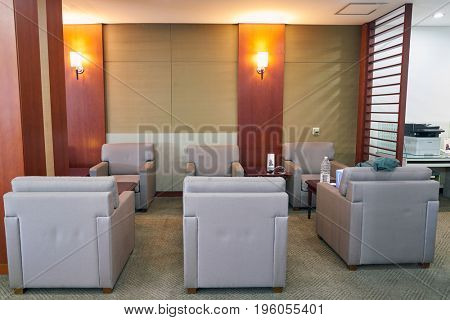 SEOUL, SOUTH KOREA - CIRCA MAY, 2017: inside Asiana Lounge at Gimpo Airport Domestic Terminal. Gimpo International Airport is located in the far western end of Seoul.