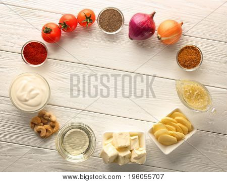 Ingredients for butter chicken on table