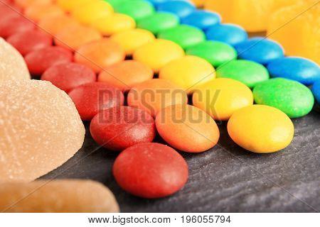 Composition of delicious candies, closeup