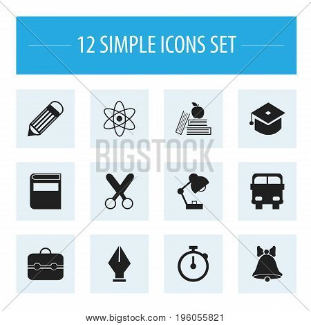 Set Of 12 Editable Education Icons. Includes Symbols Such As Cutting, Literature, Trunk And More