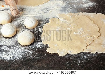 Unleavened dough for tortillas on kitchen table