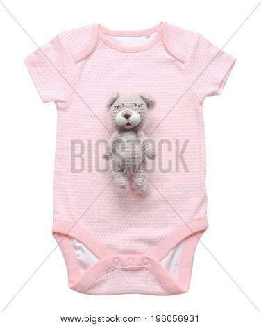 Cute baby bodysuit and crochet toy isolated on white