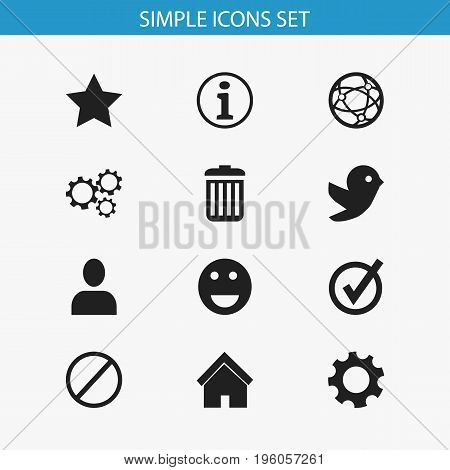 Set Of 12 Editable Internet Icons. Includes Symbols Such As Home, Approved, Settings And More