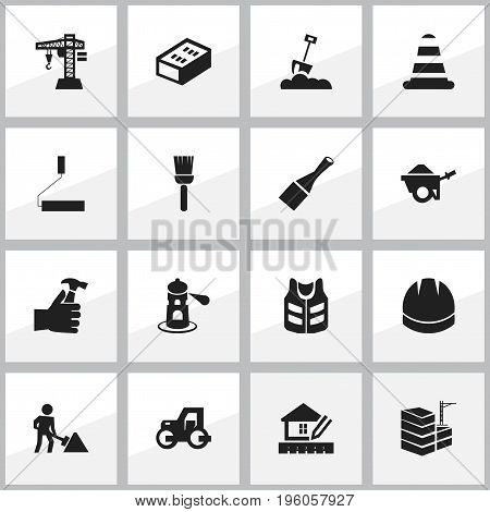 Set Of 16 Editable Structure Icons. Includes Symbols Such As Roller, Trolley, Shovel And More
