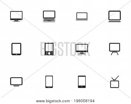 Set Of 12 Editable Instrument Icons. Includes Symbols Such As Television, Computer, Telly And More