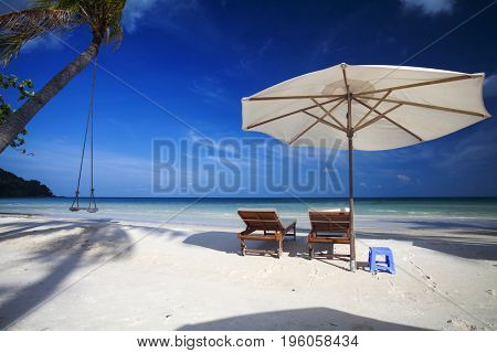 Tropical beach background with palm trees, blue sky and lounge chairs with umbrellas.