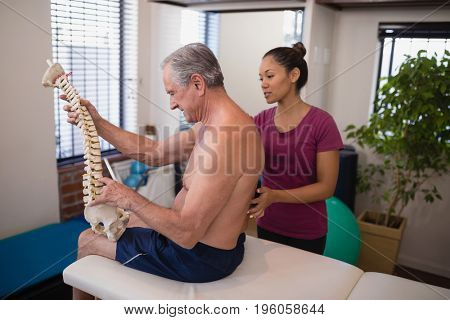Shirtless male patient holding artificial spine while female therapist examining back at hospital ward