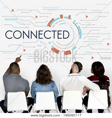 Group of people and digital social concept