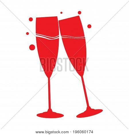 Isolated pair of wine glasses, Vector illustration
