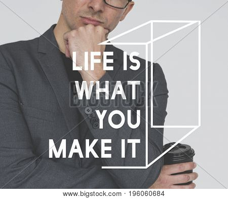 Life Motivation Word on Adult Businessman Background