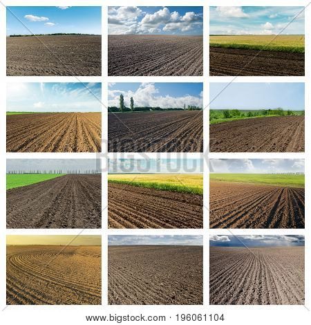 set of pictures with black plowed agriculture fields. collage for internet projects