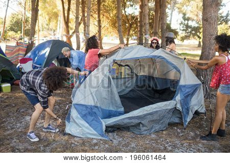 Young friends setting up tents on field at countryside