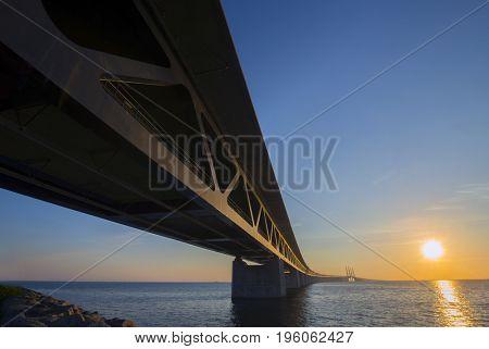 Oresund Bridge, Sweden at sunset